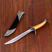 Сувенирный нож, 26 см ножны с оковками, рукоять под дерево, гарда галочкой