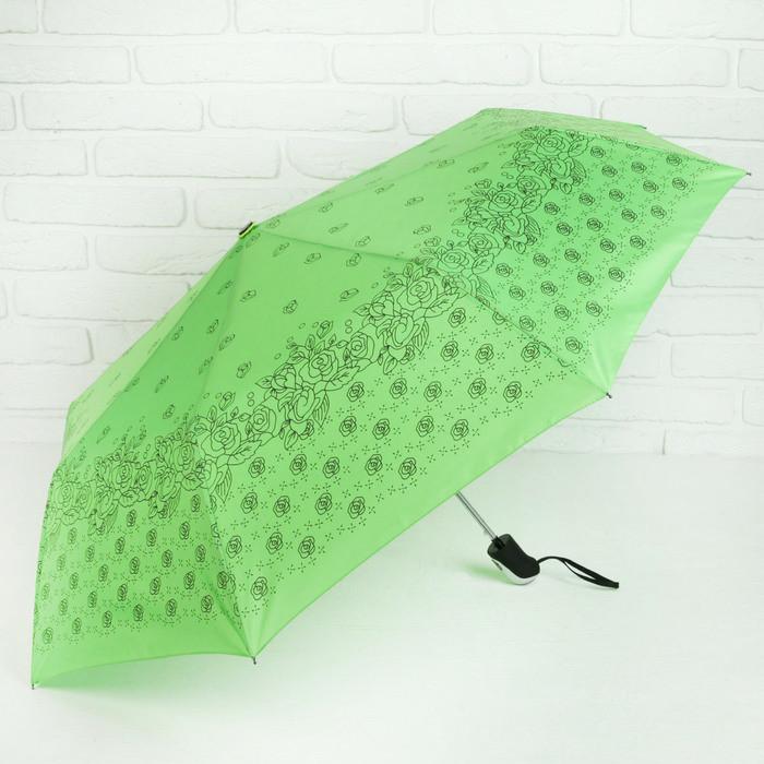 Зонт полуавтоматический «Розочки», 3 сложения, 8 спиц, R = 55 см, цвет зелёный