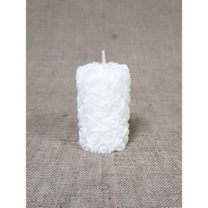 Свеча Свадебная Цилиндр из роз 4,5*7 белый