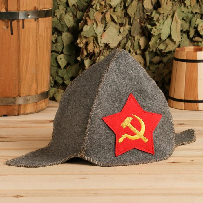 """Будёновка """"Серп и молот"""" (серый)"""