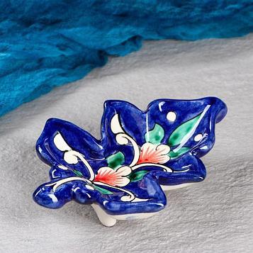 Конфетница «Риштан» в форме листика, 15 см, синяя
