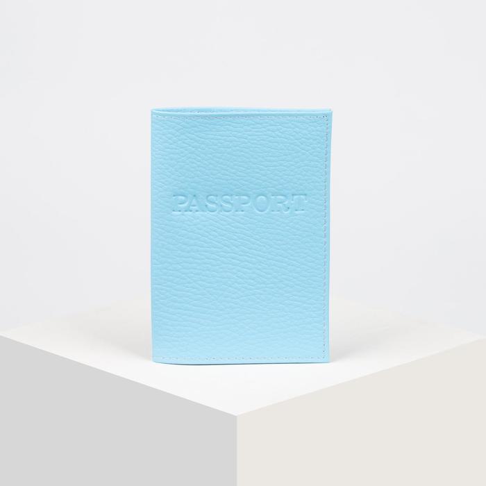 Обложка для паспорта, загран, флотер, цвет голубой