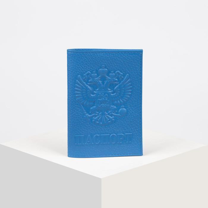 Обложка для паспорта, герб, флотер, цвет голубой