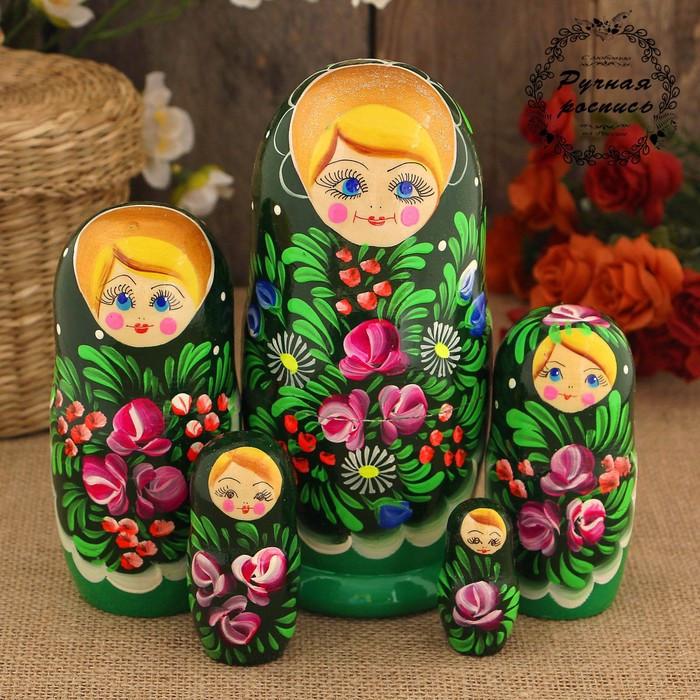 Матрёшка «София», тёмно-зелёный платок, 5 кукольная, 17 см
