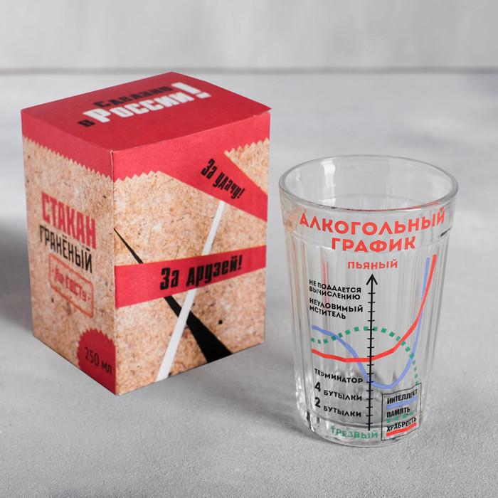 """Стакан граненый """"Алкогольный график"""", 250 мл"""