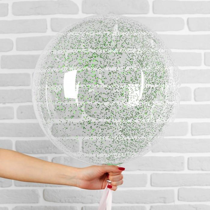 """Шар полимерный 20"""" «Сфера», маленькие звёзды, цвет зелёный, 1 шт."""