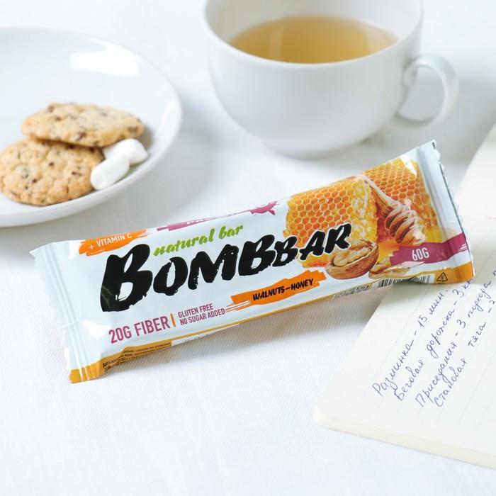 Протеиновый батончик BOMBBAR, грецкие орехи с мёдом, 60 г