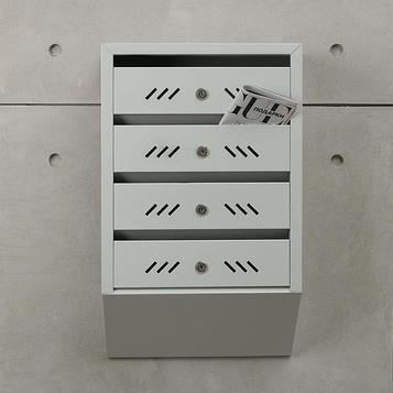 Ящик почтовый многосекционный, 4 секций, с задней стенкой, серый