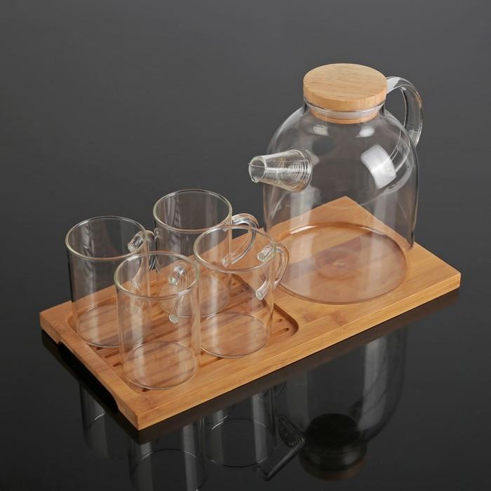 Чайный набор «Эко», 5 предметов: чайник 1,6 л, 4 кружки 100 мл