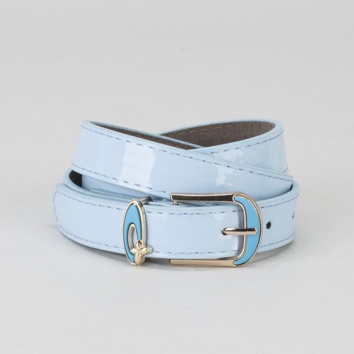 Ремень, гладкий, пряжка и хомут золото, ширина - 2,2 см, цвет голубой