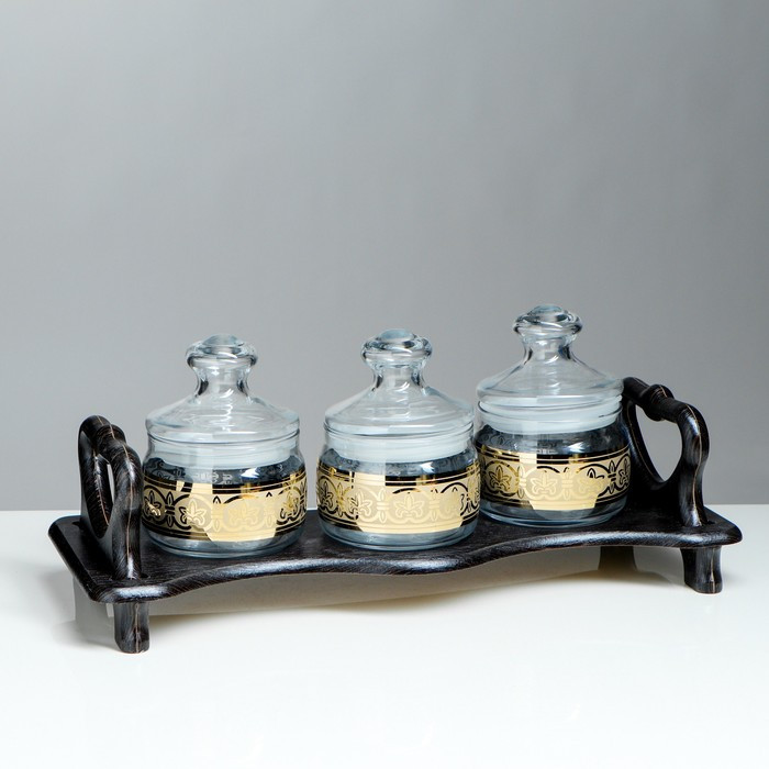 """Набор """"Флоренция"""": 3 банки для сыпучих продуктов по 420 мл на деревянной подставке"""