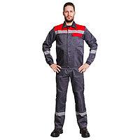 Костюм №802 «Легион», полукомбенизон+куртка, цвет серый/красный, размер 48-50/182-188