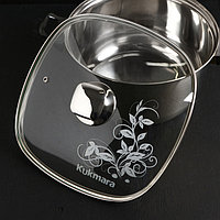 Крышка для сковороды и кастрюли стеклянная, квадратная, 26 см, с ободом и ручкой из нержавеющей стали