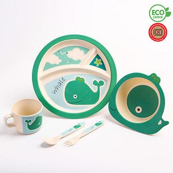 Набор детской бамбуковой посуды «Китенок»,тарелка, миска, кружка, приборы, 5 предметов