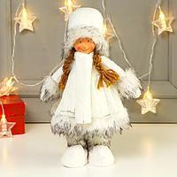 Кукла интерьерная 'Девочка в вязаном платье и белом шарфике' 31 см