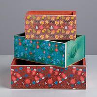 Набор деревянных ящиков 3 в 1 без ручки 'Новогодние элементы'