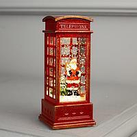 Фигура свет. 'Дед Мороз в красной телефонной будке' 12х5х5 см, 1 LED, блестки, Т/БЕЛЫЙ