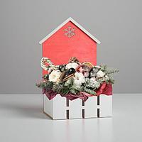 Кашпо флористическое домик с заборчиком 'Снежинка' 15*11*25 см