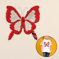 Термоаппликация двусторонняя 'Бабочка', с пайетками, 18,5 x 18,5 см, цвет красный/золотой