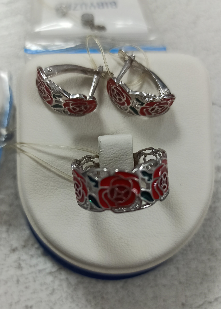 Комплект  серебро размер кольца 18.