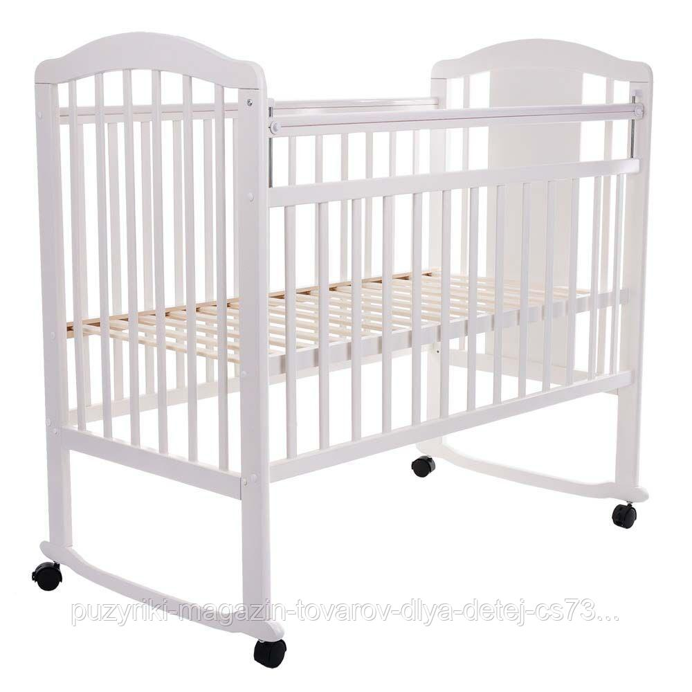 PITUSO Кровать детская NOLI МИШУТКА  колесо-качалка с наклад. опуск.планка Белый
