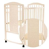 PITUSO Кровать детская NOLI МИШУТКА  колесо-качалка с наклад. опуск.планка Слон.кость, фото 1