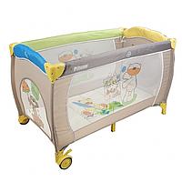 PITUSO Манеж-кровать Granada Bear/Мишки,2-уровневый на молнии лаз пласт кольца 4шт, 2 колеса 120*60*