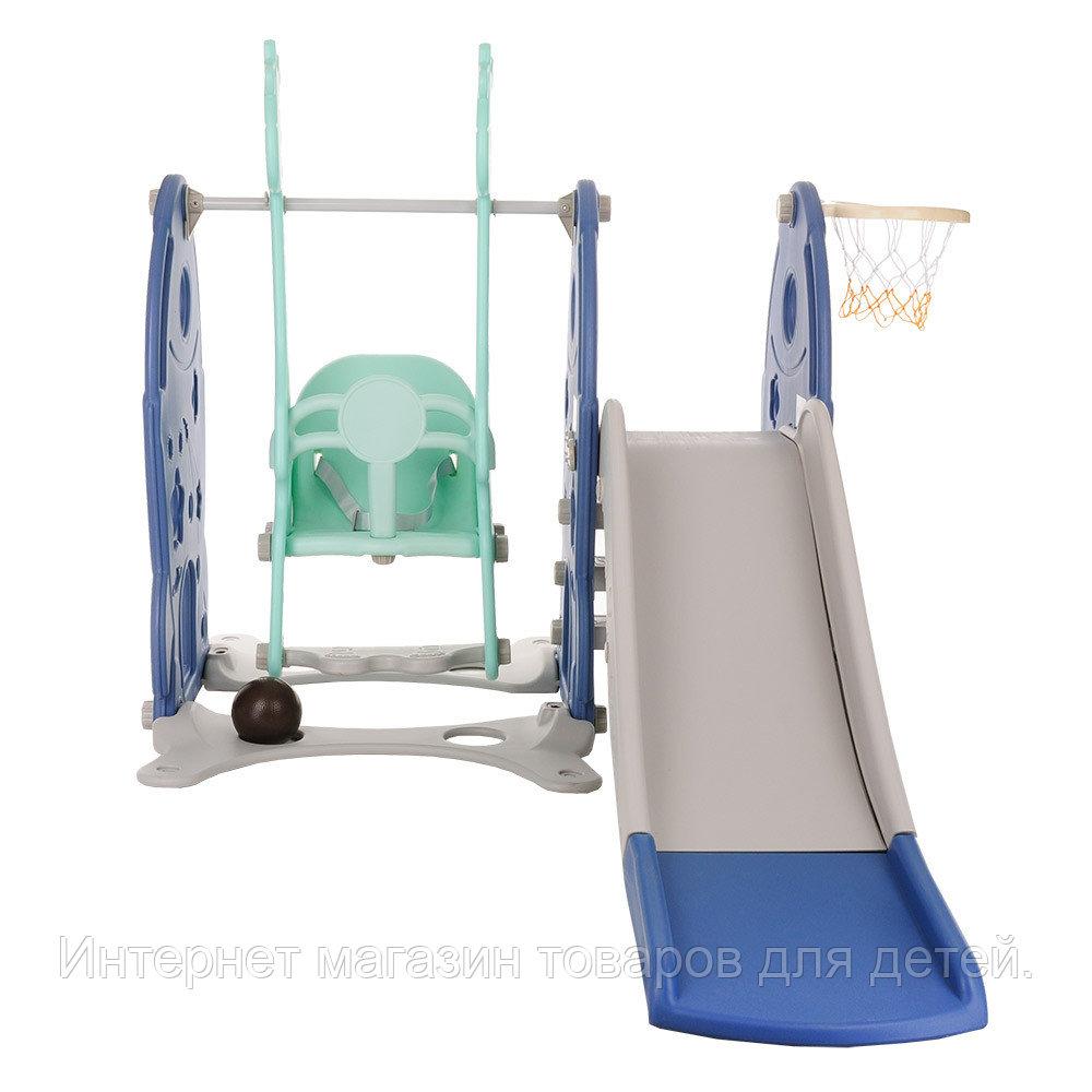 PITUSO Горка-Комплекс РАКЕТА (горка, качели,баскет.кольцо) 197*122*120h BLUE/Синий