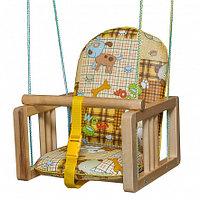 ГНОМ Качели деревянные подвесные мягкое сиденье Собачки