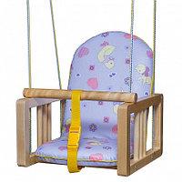 ГНОМ Качели деревянные подвесные мягкое сиденье Утки синие