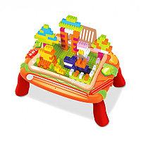 PITUSO  Стол для игры с конструктором (150 эл-в) и магнитной доской для рисования (37.5*25*17.5), фото 1