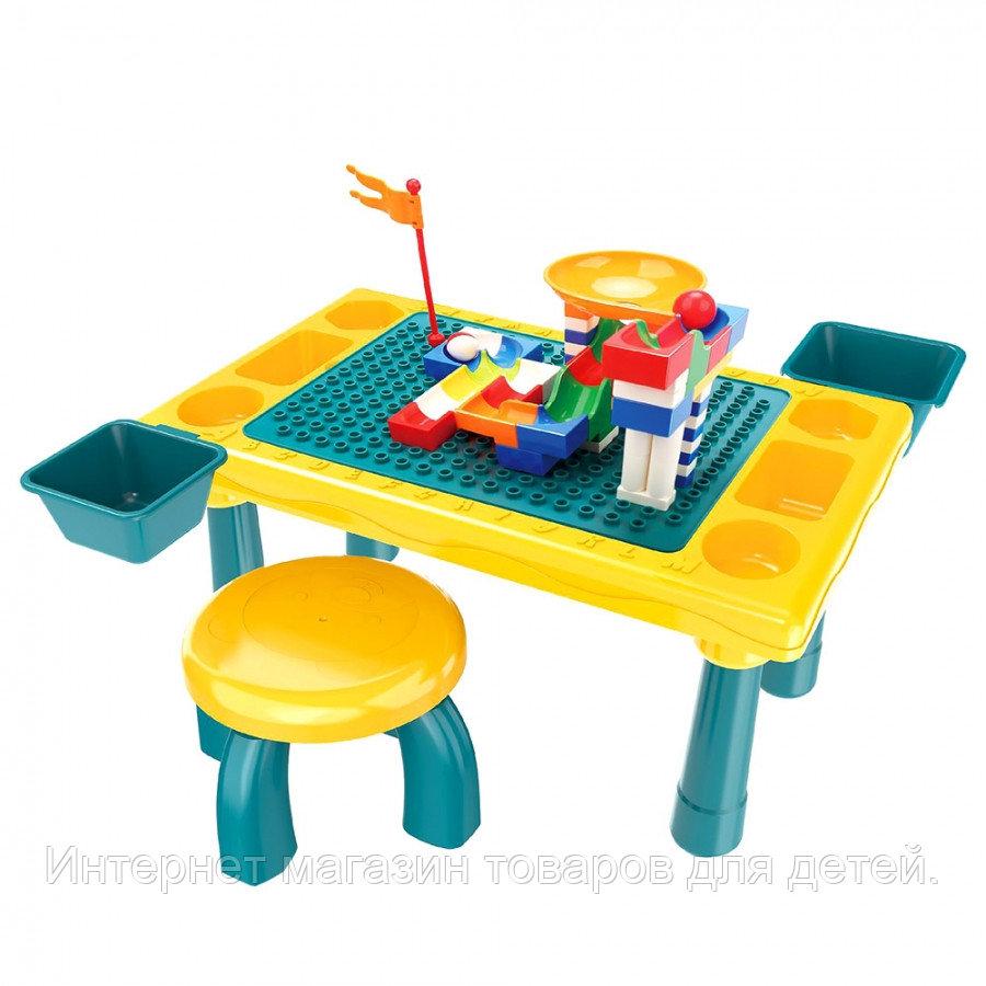 PITUSO  Стол для игры с конструктором, в компл. с конструктором (58 эл.) (48,4*30,2*27,2)+1табурет