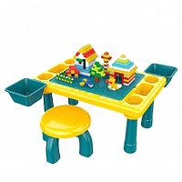 PITUSO Стол для игры с конструктором,в компл.с конструктором(300 эл.) (48,4*30,2*27,2 см) +1 табурет