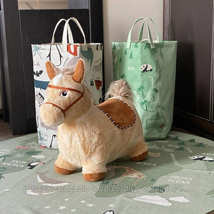 PITUSO Прыгуны-животные ЛОШАДКА, PVC+съемный плюш.чехол,с насосом, муз.,57*27*50см, Бежевый