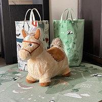 PITUSO Прыгуны-животные ЛОШАДКА, PVC+съемный плюш.чехол,с насосом, муз.,57*27*50см, Бежевый, фото 1