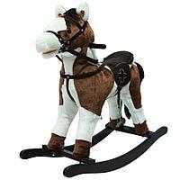 PITUSO Качалка-Лошадка плюш.,муз., Белый с коричневым, 74*30*64см