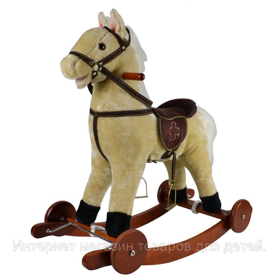 PITUSO Качалка-Лошадка с колесами мягконаб.,муз.,Светло-бежевый,74*30*64см