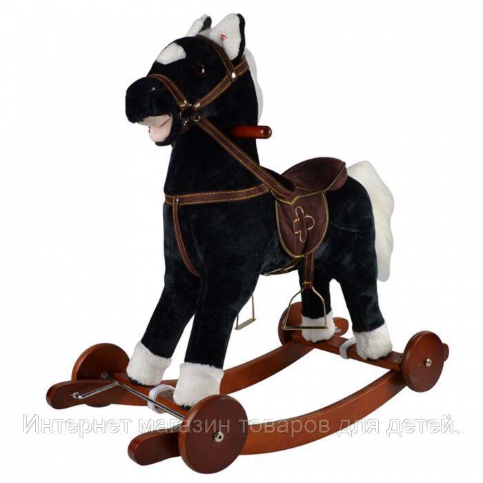 PITUSO Качалка-Лошадка с колесами мягконаб.,муз.,Черный, 74*30*64см