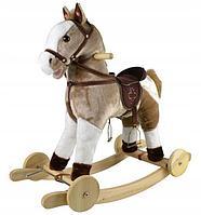 PITUSO Качалка-Лошадка с колесами, мягконаб.,муз., Серый с белым, 74*30*64 см.