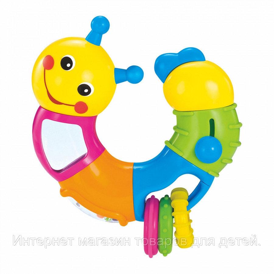 HOLA Развивающая игрушка ГУСЕНИЦА (погремушка,трещетка,зеркало),25 см