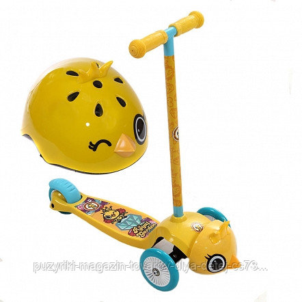 REXCO Самокат 3-х кол. 3D ЦЫПЛЕНОК ЯННИ, желтый, кол. PVC передние 130 * задние105 мм. (без шлема)