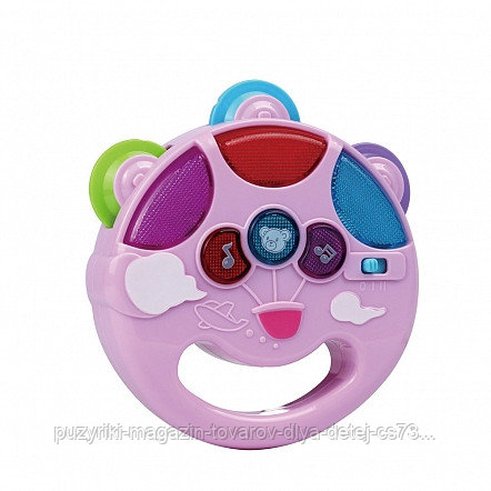 PITUSO Развивающая игрушка МУЗЫКАЛЬНЫЙ БУБЕН (белый) (свет,звук) 12*11*3,5 см (в кор.96 шт)