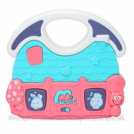 PITUSO Развивающая игрушка МУЗЫКАЛЬНЫЙ ДОМ (голубой) (свет,звук) 12,5*11,5*3,5 см (в кор.96 шт)