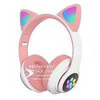 Беспроводные Bluetooth детские наушники с светящимися ушками розовые
