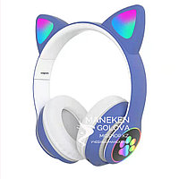 Беспроводные Bluetooth детские наушники с светящимися ушками голубые