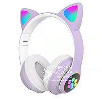 Беспроводные Bluetooth детские наушники с светящимися ушками фиолетовые