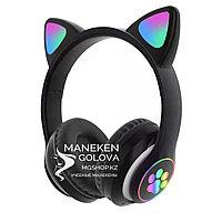 Беспроводные Bluetooth детские наушники с светящимися ушками черные