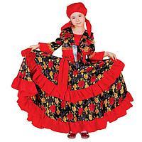 """Карнавальный костюм """"Цыганка"""", косынка, блузка, юбка, пояс, цвет красный, обхват груди 60 см, рост 116 см"""