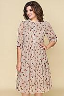 Женское осеннее шифоновое бежевое нарядное платье DaLi 5324 бантики 44р.