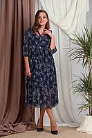 Женское осеннее шифоновое синее большого размера платье Rishelie 858 52р.